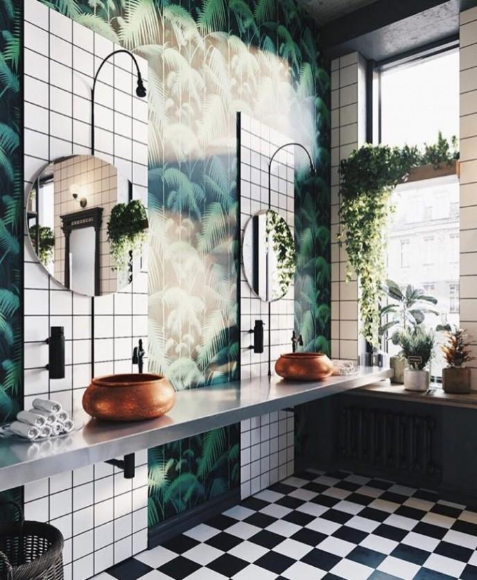تزیین حمام با گیاه نئون پوتوس
