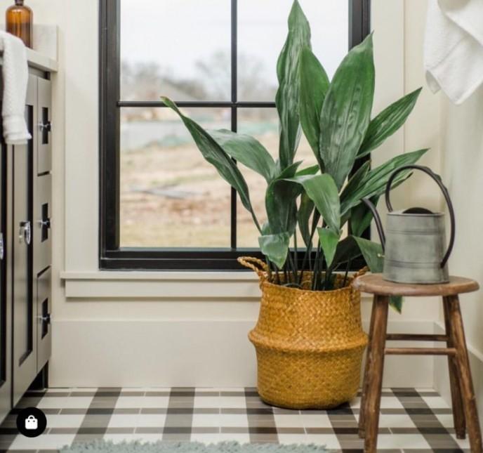 دیزاین سرویس بهداشتی با گیاه برگ عبایی