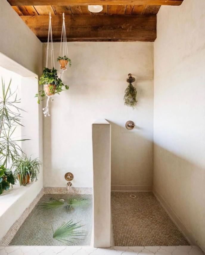 دیزاین سرویس بهداشتی با گیاهان عنکبوتی