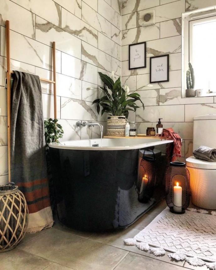 تزیین سرویس بهداشتی و حمام با گیاه صلح لیلی
