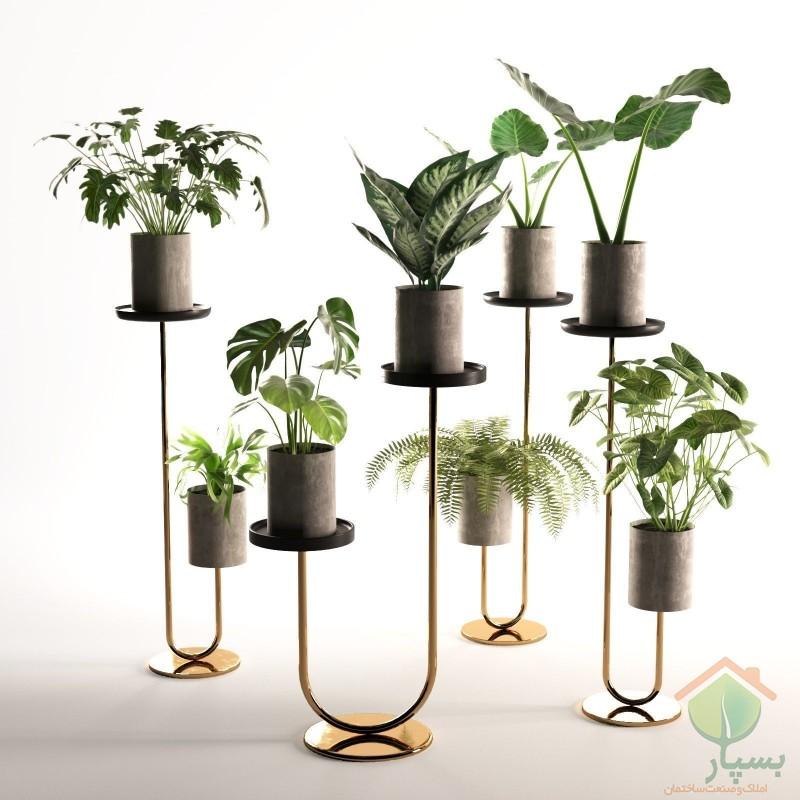 تصویر شماره انواع استند گلدان (چوبی و فلزی) و کاربرد آن در دکوراسیون داخلی