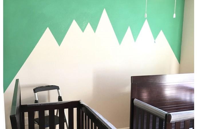 نقاشی ساده روی دیوار اتاق خواب