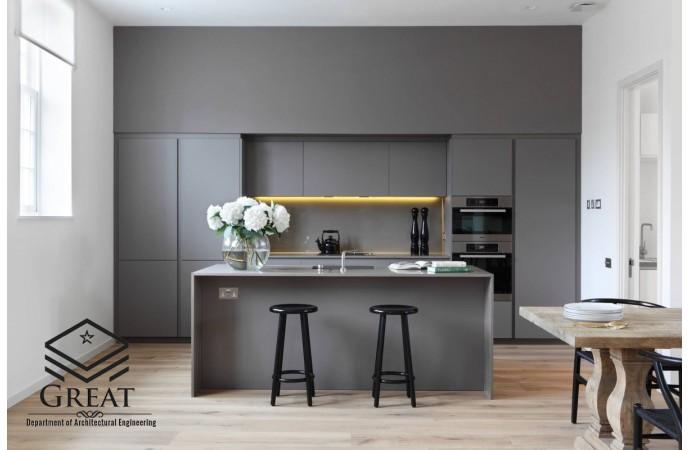 کابینت آشپزخانه خاکستری