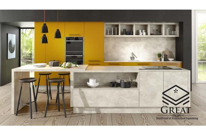 ترکیب کابینت هایگلاس زرد و خاکستری